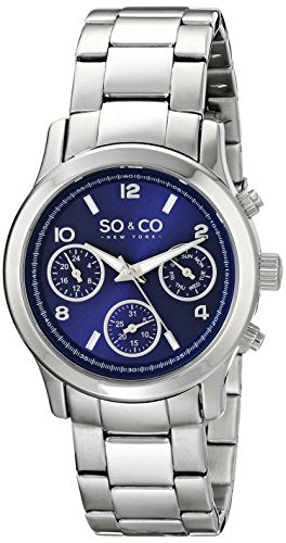 SO&CO New York Women's 5012.2 Madison Blue Dial Day and Date Stainless Steel Watch