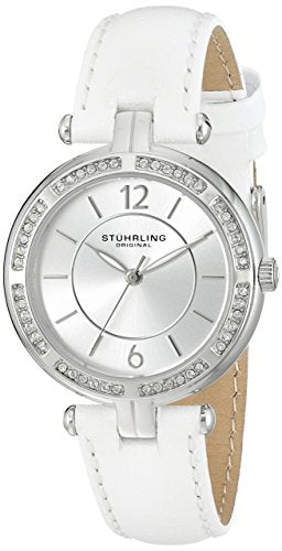 Stuhrling 550 01 Women's Quartz Silver Dial White Strap Watch