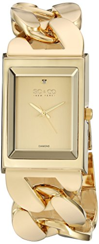 SO&CO New York Women's 'SoHo' Quartz Metal and Stainless Steel Dress Watch, Color:Gold-Toned (Model: 5094.2)