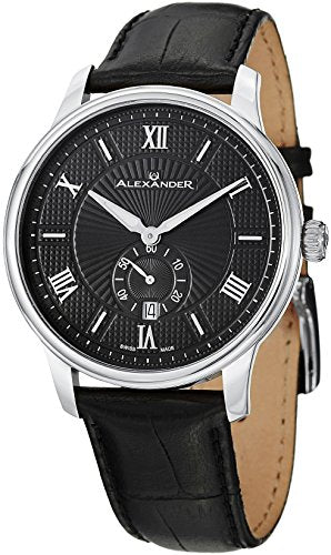 Alexander A102-02 Statesman Regalia Swiss Analog Men's Black Leather Watch