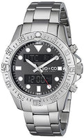 SO&CO New York Men's 5017.1 Yacht Club Analog Digital Display Alarm World Time Stainless Steel Link Bracelet Watch