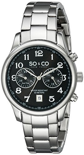 SO&CO New York Men's 5031.2 Monticello Quartz Black Dial GMT Date Stainless Steel Link Bracelet Watch