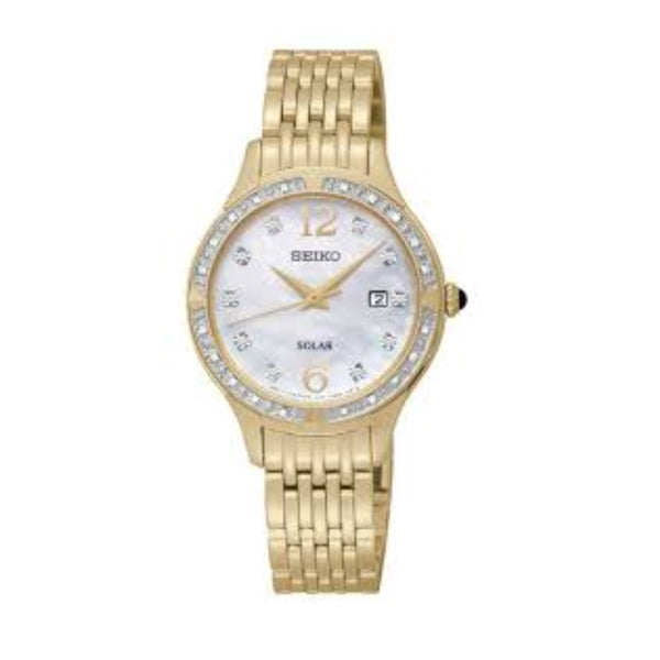 Seiko Women's SUT094 Stainless Steel Solar Watch with Diamonds