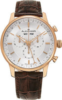 Alexander Statesman Chieftain Wrist Watch For Men - Brown Leather Analog Swiss Watch - Stainless Steel Plated Rose Gold Watch - Silver Dial Day Date Month Mens Chronograph Watch - Mens Designer Watch A101-05