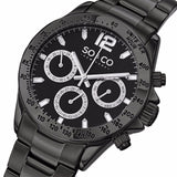 SO&CO New York Men's 5001.3 Monticello Quartz Day and Date Black Stainless Steel Link Bracelet Watch