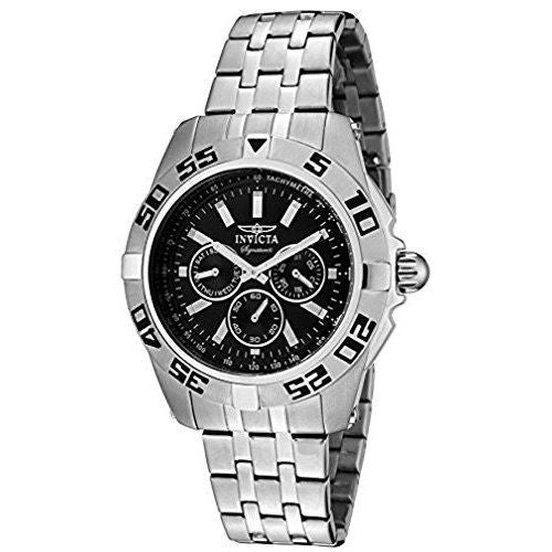 Invicta Signature II Black Dial Chronograph Stainless Steel Mens Watch 7301