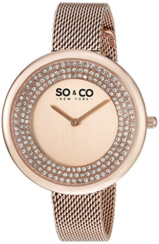 SO&CO New York Women's 'SoHo' Quartz Metal and Stainless Steel Casual Watch, Color:Rose Gold-Toned (Model: 5259.3)