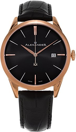 Alexander Heroic Sophisticate Wrist Watch For Men - Black Leather Analog Swiss Watch - Stainless Steel Plated Rose Gold Watch - Black Dial Date Mens Designer Watch A911-05