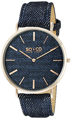 SO&CO New York Unisex 5103.5 SoHo Quartz Blue Denim Covered Genuine Leather Strap Watch