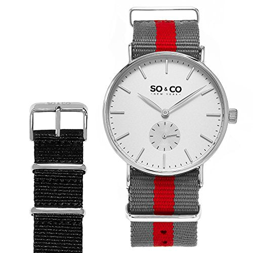 SO&CO New York Men's 'Madison' Quartz Stainless Steel and Canvas Casual Watch, Color:Grey (Model: 5265.SET.2)