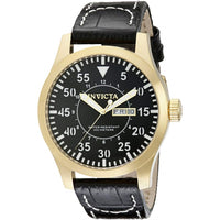 Invicta Men's 11190 Specialty Black Dial Black Leather Watch [Watch] Invicta
