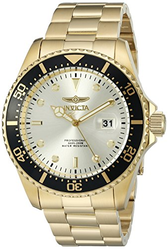 Invicta Men's 22065 Pro Diver Quartz 3 Hand Champagne Dial Watch