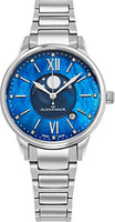 Alexander Monarch Vassilis Moon Phase Date 35 MM Blue Mother of Pearl DIAMOND Face Watch For Women - Swiss Quartz Stainless Steel Silver Band Elegant Ladies Fashion Designer Dress Watch AD204B-02