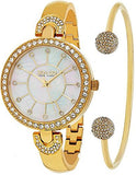 Women's Crystal Design Bangle Set Watch, Gold Tone Case on Gold Tone Bangle Bracelet with Crystal Filled Lugs, Mother-of-Pearl Dial, Crystal Filled Bezel, with Gold Tone and Crystal Accents, along with One Gold Tone Bangle with Two Crystal Filled Balls on