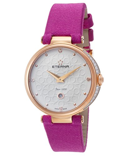 Eterna 2566-60-61-1371 Women's Grace Diamond Fuchsia Fabric White Dial Rose-Tone Ss Watch