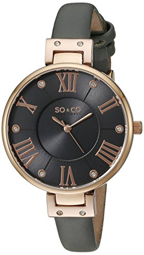 SO&CO New York Women's 5091.3 Slim Grey Crystal Accent Leather Strap Watch