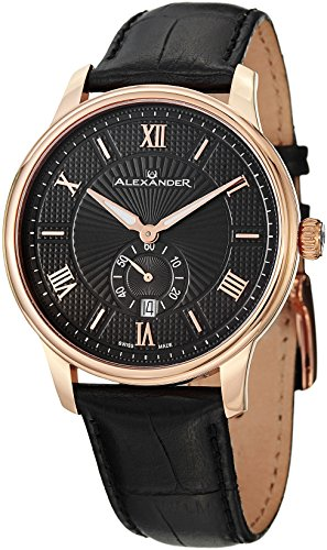 Alexander A102-04 Statesman Regalia Men's Rose Gold Swiss Black Leather Watch