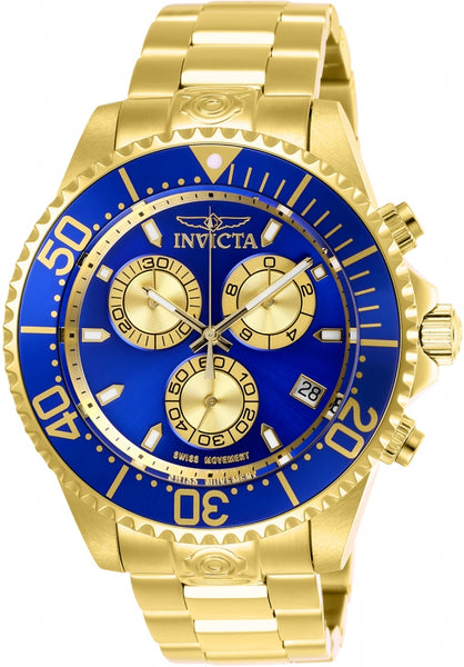 Invicta Men's 26849 Pro Diver Quartz Chronograph Blue, Gold Dial Watch