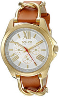 SO&CO New York Women's 5215.2 SoHo Quartz Day and Date Luminous Tan Genuine Leather Strap Watch
