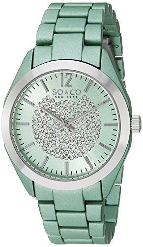 SO&CO New York Women's 5096A.3 SoHo Quartz Crystal Dial Oversized Green Link Bracelet Watch