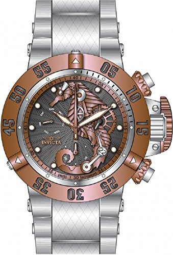Invicta Men's 26228 Subaqua Quartz 3 Hand Gunmetal, Rose Gold Dial Watch