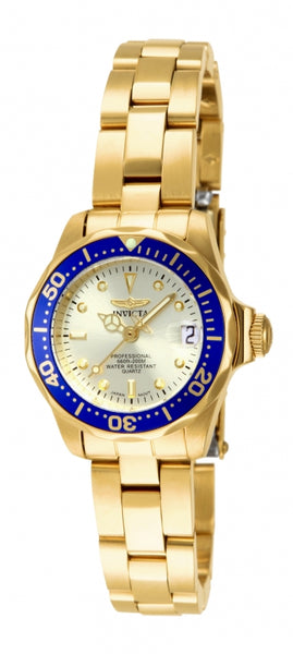 Invicta Women's 14126 Pro Diver Quartz 3 Hand Gold Dial Watch
