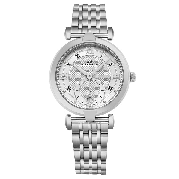 Alexander Monarch Olympias Date Silver Large Face Watch For Women - Swiss Quartz Stainless Steel Silver Band Elegant Ladies Fashion Dress Watch A202B-01
