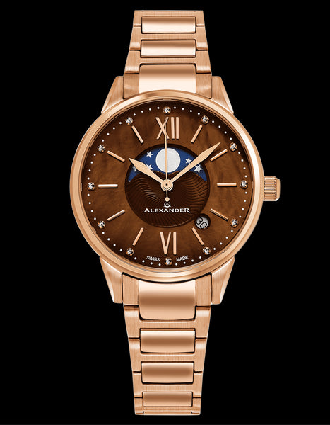 Alexander Monarch Vassilis Moon Phase Date 35 MM Brown Mother of Pearl DIAMOND Large Face Stainless Steel Rose Gold Watch For Women - Swiss Quartz Elegant Ladies Fashion Designer Dress Watch AD204B-06