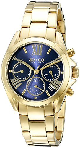 SO&CO New York Women's 5064.2 Madison Quartz Date Dual Time Multifunction Gold Tone Watch