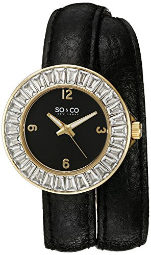 SO&CO New York Women's 5070.1 SoHo Crystal Accent 23K Gold-Tone Case Luminous Hands With Black Wraparound Leather Band