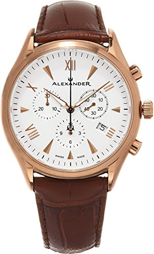 Alexander Heroic Pella Wrist Watch For Men - Brown Leather Analog Swiss Watch - Stainless Steel Plated Rose Gold Watch - Silver White Dial Mens Chronograph Watch - Mens Designer Watch A021-04