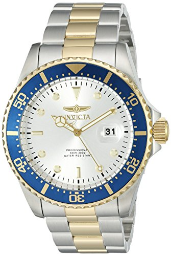 Invicta Men's 22061 Pro Diver Quartz 3 Hand Silver Dial Watch