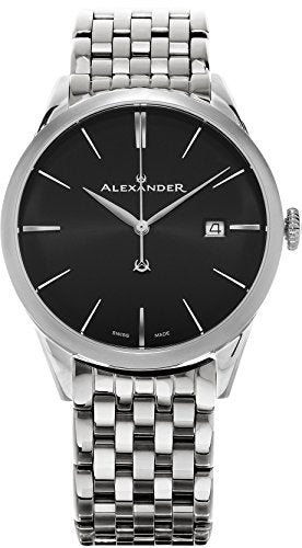 Alexander Heroic Sophisticate Wrist Watch For Men - Black Dial Date Analog Swiss Watch - Stainless Steel Bracelet Watch - Mens Designer Watch A911B-03