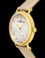 Alexander Monarch Roxana White Mother of Pearl Large Face Stainless Steel Plated Yellow Gold Watch For Women - Swiss Quartz Brown Satin Leather Band Elegant Ladies Dress Watch A201-02