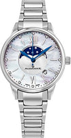 Alexander Monarch Vassilis Moon Phase Date 35 MM White Mother of Pearl DIAMOND Face Watch For Women - Swiss Quartz Stainless Steel Silver Band Elegant Ladies Fashion Designer Dress Watch AD204B-01