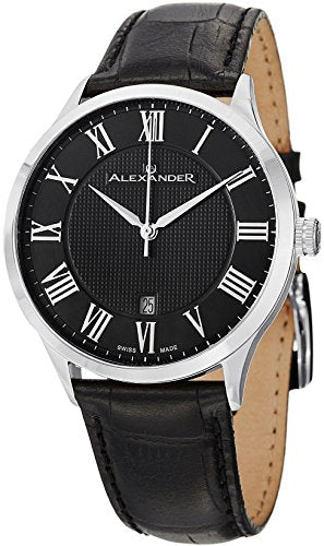 Alexander A103-02 Statesman Triumph Men's Analog Black Leather Strap Swiss Watch
