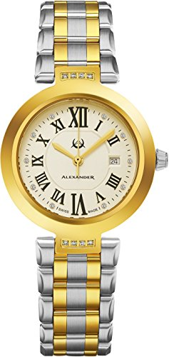 Alexander Monarch Niki Date DIAMOND Silver Large Face Watch For Women - Swiss Quartz Two Tone Band Elegant Ladies Fashion Designer Dress Watch AD203B-02