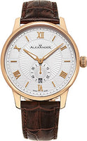 Alexander Statesman Regalia Wrist Watch For Men - Brown Leather Analog Swiss Watch - Stainless Steel Plated Rose Gold Watch - Silver White Dial Date Small Seconds Mens Designer Watch A102-05