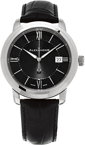 Alexander Heroic Macedon Wrist Watch For Men - Black Leather Stainless Steel Analog Swiss Watch - Black Dial Date Mens Designer Watch A111-01