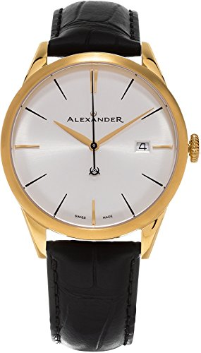Alexander Heroic Sophisticate Wrist Watch For Men - Black Leather Analog Swiss Watch - Stainless Steel Plated Yellow Gold Watch - Silver White Dial Date Mens Designer Watch A911-07
