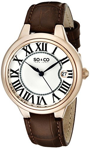 SO&CO New York Women's 5052L.2 Madison Quartz Date Brown Leather Strap Watch