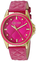 SO&CO New York Women's 5201.2 SoHo Quartz Pink Quilted Leather Strap Watch