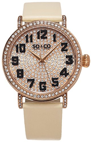 Womens Crystal Filled Dial Quartz Watch, Rose Tone Case on Ivory Satin Twill Genuine Leather Strap, Rose Tone Crystal Fill Dial with Black Arabic Numerals, Rose Tone Crystal Filled bezel and Luggs, and Rose Tone Accents