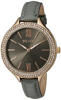 SO&CO New York Women's 5089.3 SoHo Quartz Crystal Accent Grey Leather Band Watch