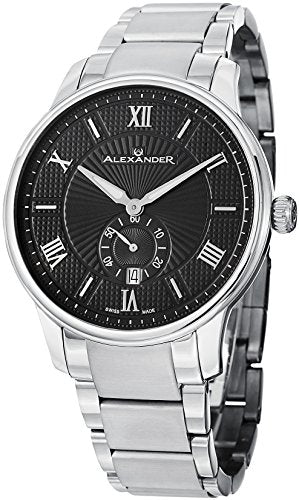 Alexander A102B-02 Mens Statesman Regalia Stainless Steel Analog Swiss Watch