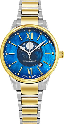 Alexander Monarch Vassilis Moon Phase Date 35 MM Blue Mother of Pearl DIAMOND Face Stainless Steel Yellow Gold Watch For Women - Swiss Quartz Elegant Two Tone Ladies Fashion Dress Watch AD204B-03
