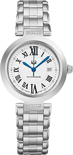 Alexander Monarch Niki Date DIAMOND Silver Large Face Watch For Women - Swiss Quartz Stainless Steel Silver Band Elegant Ladies Fashion Designer Dress Watch AD203B-01