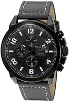 SO&CO New York Men's 5212.2 Monticello Quartz Black Case Chronograph Date Grey Genuine Leather Strap Watch