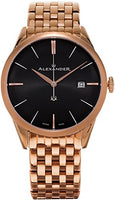 Alexander Heroic Sophisticate Bracelet Wrist Watch For Men - Black Dial Date Analog Swiss Watch - Stainless Steel Plated Rose Gold Watch - Mens Designer Watch A911B-06