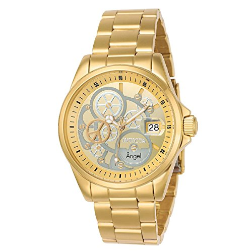 Invicta Women's 23568 Angel Quartz 3 Hand Gold, Silver Dial Watch